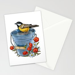 Bird on a Blue Pail with Poppies and Daisies Stationery Cards