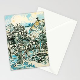 OLD VINEYARD WITH A PEASANT WOMAN - VINCENT VAN GOGH Stationery Cards