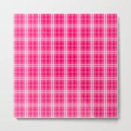 Bright  Neon Pink and White Tartan Plaid Check Metal Print