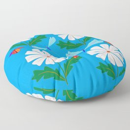 White Spring Daisies, Dragonflies, Lady Bugs and the Sun Floor Pillow