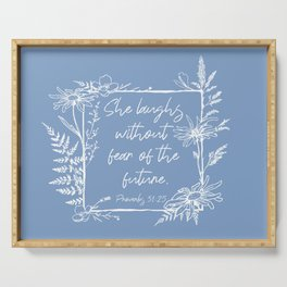 She Laughs Without Fear Wildflower Frame Bible Verse Serving Tray