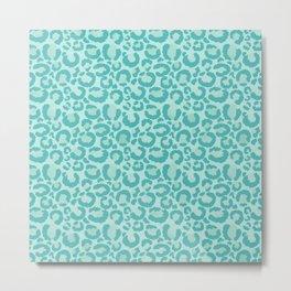 Aqua Leopard Print  Metal Print