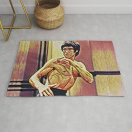 Bruce Fighting Artistic Illustration Red Dragon Style Rug