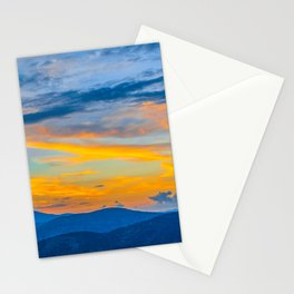 Utah Wasatch Mountains Park City Sunset Blue Yellow Sky Stationery Cards