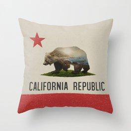 California Grizzly Bear Flag Throw Pillow