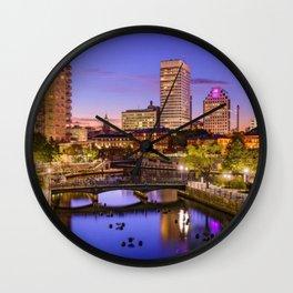 Waterplace Park - Providence, Rhode Island Twilight Sunset Wall Clock