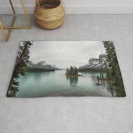 Landscape Photography | Spirit Island | Maligne Lake | Jasper Alberta | Emerald Water | Wall Art Rug