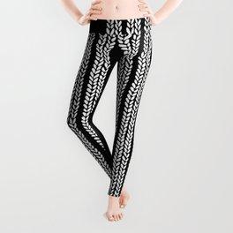 Cable Stripe Black Leggings