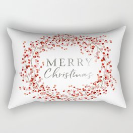Merry Christmas wreath. Red berry Rectangular Pillow