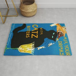 Mix Your Drinks with Catz (Cats) Bitters Aperitif Liquor Vintage Advertising Poster Rug