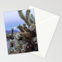 Cholla Cactus in Joshua Tree National Park at sunset with a super moon Stationery Cards