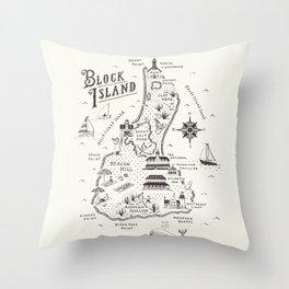 Block Island Map Deko-Kissen