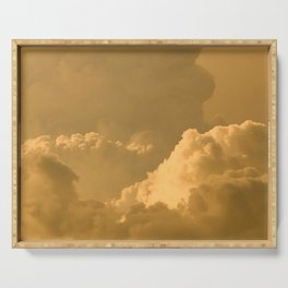 clouds, sky, yellow Serving Tray