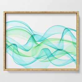 Sea Wave Pattern Abstract Aqua Blue Green Waves Serving Tray