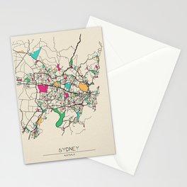 Colorful City Maps: Sydney, Australia Stationery Cards