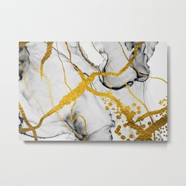 Beautiful marble with glitter gold paint, Abstract artwork. Natural Luxury. Style incorporates the swirls of marble Metal Print