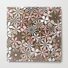 Cute Modern Digital Flowers // Desert Colors // Desert Pink, Khaki Tan, Sand, Ivory, Cream, Taupe, Dark Brown, Coffee Brown Metal Print