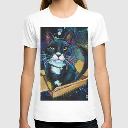 Tuxedo Cat In Space! T-shirt