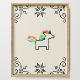Cross Stitch Unicorn Serving Tray