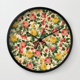 Spring Roses : Vintage Pattern Series Wall Clock