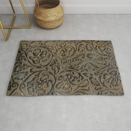 Olive & Brown Tooled Leather Rug