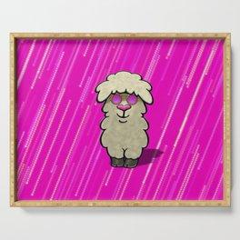 cool llama pink Serving Tray