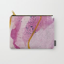 Awakening: a minimal, abstract mixed-media piece in pinks, yellow, and blue by Alyssa Hamilton Art Carry-All Pouch