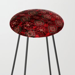 N129 - Epic Royal Red Oriental Traditional Moroccan Style Fabric Design  Counter Stool
