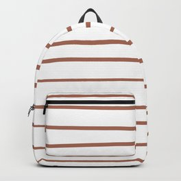 Sherwin Williams Cavern Clay SW7701 Hand Drawn Horizontal Lines on Pure White Backpack
