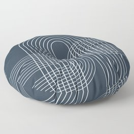 Geometric Lines in Midnight Blue 2 Floor Pillow