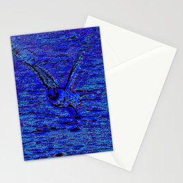 gull in flight, blue Stationery Cards