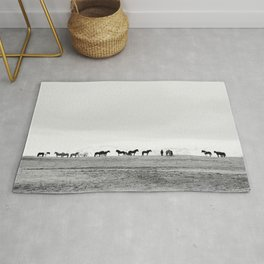 Black and White Horses in Landscape Photograph, Iceland Rug