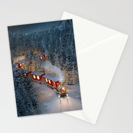 Christmas night - Amazing cute christmas train goes through fantastic winter forest in north pole. Stationery Cards