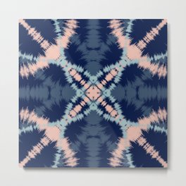 Blue & Blush Tie Dye Metal Print
