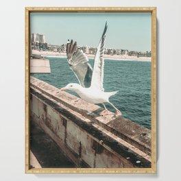 Seagull Taking Flight // California West Coast Pier Vibes Beach Ocean Surf City USA Serving Tray
