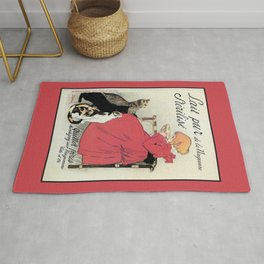Vintage Art nouveau French milk advertising, cats, girl Rug