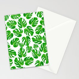 Modern hand painted green yellow watercolor monster leaves Stationery Cards