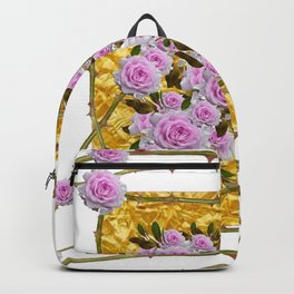 PINK ROSES THORNY CANES  METALLIC GOLD WHITE ART Backpack