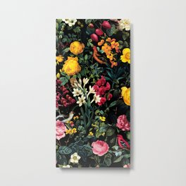 Floral and Birds Pattern Metal Print