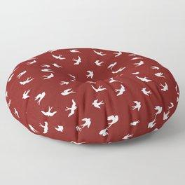 White Flying Birds Seamless Pattern on Burgundy background Floor Pillow