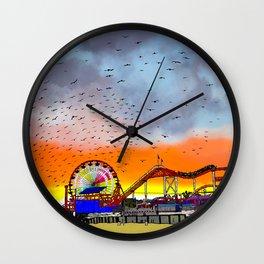 Birds Over Santa Monica Pier Wall Clock