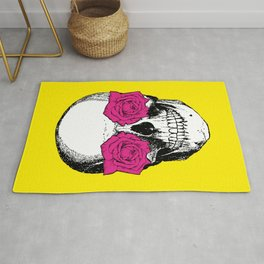 Skull and Roses   Skull and Flowers   Vintage Skull   Yellow and Pink   Rug