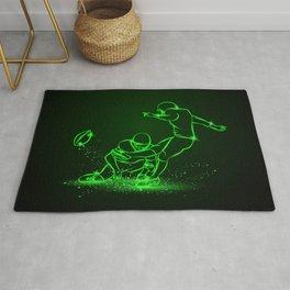 American Football Kicker Hits the Ball. Green Neon Sports Rug