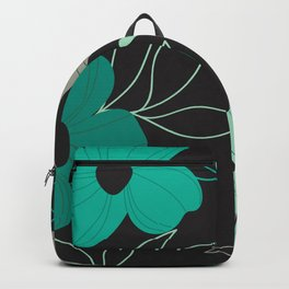 Wild Flower in Mint Green/Black Backpack