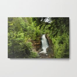 Photos USA Miners Falls Pictured Rocks National Lakeshore Cliff Nature Waterfalls park Trees Crag Rock Parks Metal Print