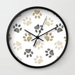 Doodle grey and gold paw print seamless fabric design repeated pattern background Wall Clock