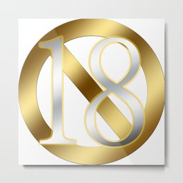 A metallic R18 mark that shines golden! The silver numbers are also beautiful! Metal Print
