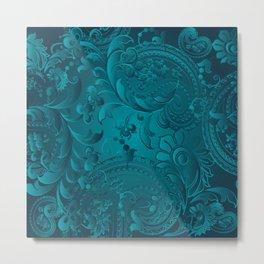 Metallic Teal Floral Pattern Metal Print
