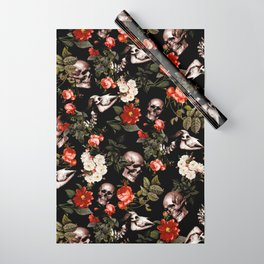 Floral and Skull Dark Pattern Wrapping Paper
