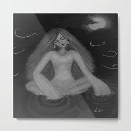 Silence by Lu, black-and-white Metal Print